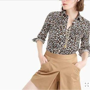 J. Crew Perfect Shirt in leopard print